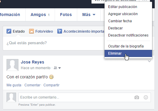 Como eliminar una publicacion en facebook